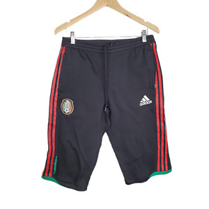 Adidas Mexico Federacion Mexicana Futbol Soccer Long Shorts Size M Black