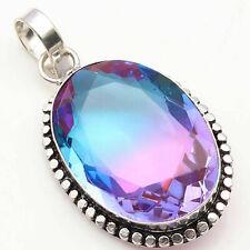 "Ametrine Quartz Sterling Silver Plated Pendant 2"" Gemstone Jewelry W1567"