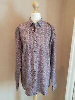 """Ted Baker Men's Floral Print Shirt Long Sleeve Burgundy & White Pattern 15.5"""""""
