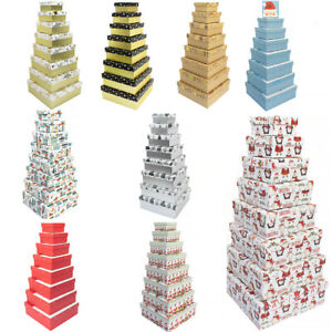 8 Stacking & Nesting Premium Christmas Gift Boxes - Choice of Designs