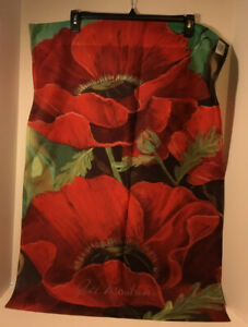 """Toland Lg Outdoor Garden Flag 24""""x35"""" Jill Troutman Red Flowers Double Sided USA"""