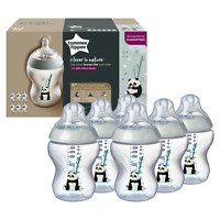 6x Tommee Tippee Closer to Nature Decorated Baby Bottles 260ml 0m+ Pip the Panda