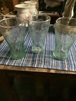 "Set Of 3 Vintage Green Glass Coca Cola Coke Glasses 3"" Mini Glasses Shot Juice"