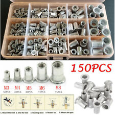 150Pcs M3 M4 M5 M6 M8 Aluminum Rivet Nut Kit Metric Rivnut Nutsert Cap Assort