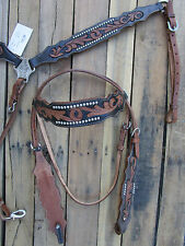 WESTERN HEADSTALL BREAST COLLAR BLACK SILVER SHOW TOOLED LEATHER HORSE BIRDLE