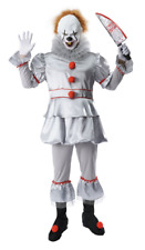 ADULT Mens IT Costume Evil Clown Pennywise Mask Halloween Jester Haunted Set