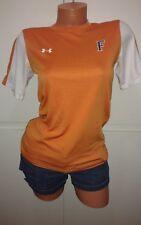 "Women Small Under Armour Heat Gear Tee Shirt Top Orange White ""F"" Short Sleeve"