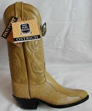 NEW DAN POST Saddle OSTRICH LEG 8 D Cowboy Boot R Toe Made In USA OLD STOCK