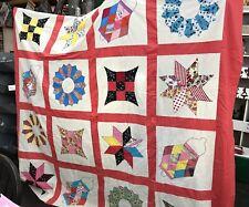 "Machine Pieced Quilt Top patchwork Blocks Set 16 Large 17"" Squares"