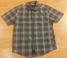 Boys Calvin Klein Short Sleeve Plaid Button Up with 2 Front Pockets Size L