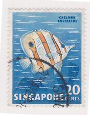(K65-317) 1962 Singapore 20c fish Chelmon Rostratus (O)