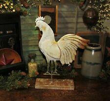 Primitive Antique Vtg Style Barn Yard Metal ROOSTER Chicken WEATHER VANE on Base