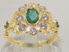 Emerald Yellow Gold Cluster Engagement Fine Rings