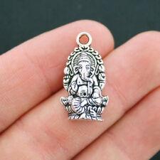 6 Ganesha Charms Antique Silver Tone Hindu God of Wisdom - SC2400