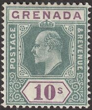 Grenada 1902 KEVII 10sh Green and Purple Mint SG66 cat £160