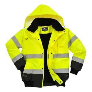 Portwest C465 Hi Vis Contrast Bomber Jacket Safety Waterproof Hooded Coat