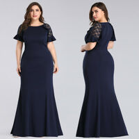 UK Ever-Pretty Plus Size Lace Sleeve Formal Evening Dresses Cocktail Party Gowns
