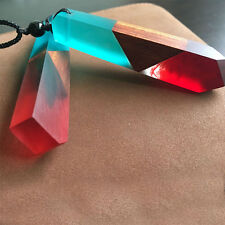 Color Random Jewelry Fashion Colored Resin Wood Pendant Rope Chain Necklace