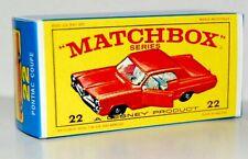 Matchbox Lesney No 22  PONTIAC GP SPORTS COUPE  RED CAR Empty Box style E