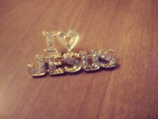 """I LOVE JESUS""  gold tone  pin Brooch with rhinetsones"