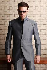 High Quality Stand Collar Mens Wedding Suits Groom Tuxedos Business Suits Custom