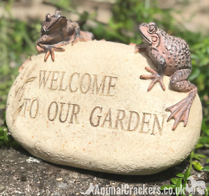 WELCOME TO OUR GARDEN stone effect Frog lover garden or pond ornament decoration