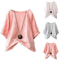 Plus Size T-shirt Womens Roll Sleeve Shirts Summer Casual Loose Blouse Top Tees