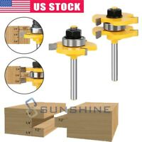 "2 Bit 3/4"" Tongue and Groove Router Bit Set - 1/4"" Shank T Shape Milling Cutter"