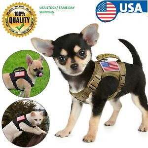 Harness USA Tactical Adjustable Cat Puppy Small Dog Working Vest  Rubber Handle