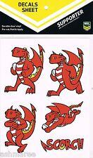 NRL St George Illawarra Dragons Mascot Scorch Car Tattoo Sticker / iTag / Decal