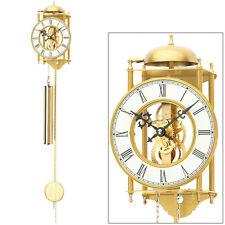 NEU AMS Wanduhr Pendel mechanisch gold Metall Pendeluhr Skelettuhr Skelett