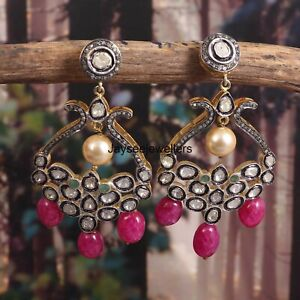 925 Sterling Silver Ruby Pearl & Emerald Gemstone Pave Diamond Polki Earring