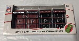Atlanta Falcons Toboggan Holiday Christmas Tree Ornaments 4 pack NEW Sleds