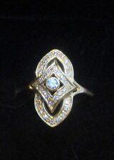 Art Deco Diamond Ring 14K Gold Astounding Feminine Details. Sz 7.25 H/Si 3.28Gr