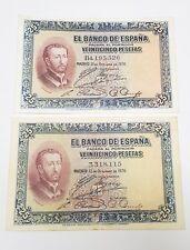 Lote DOS billetes 25 Pesetas De 1926, Seri B Y S. Serie ..Excelentes..