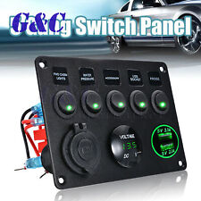 Car Boat 5 Gang ON-OFF Toggle Switch Panel Dual USB 12V MarineTruck Camper