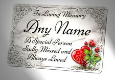 Personalised Memorial Plaque. Marble Effect.  Waterproof for garden grave etc