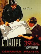 TRAVEL TRANSPORT OCEAN LINER EUROPE MAP ST LAWRENCE CANADA POSTER PRINT LV4403