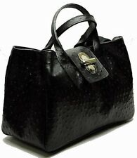 NWT genuine leather bag tote satchel ostrich embossed BLACK Made in Italy