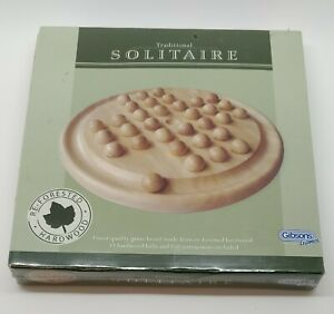 Traditional Solitaire | Gibsons Games | Wooden Reforested Hardwood | New Sealed