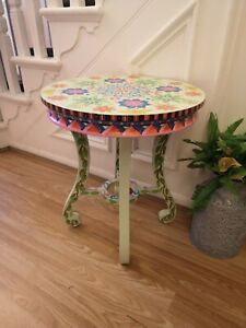 Hand Painted Sidetable/coffee Table With Mandela Design