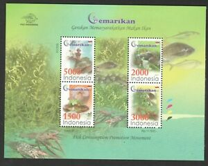 INDONESIA 2011 FISH CONSUMPTION CAMPAIGN SOUVENIR SHEET OF 4 STAMPS IN MINT MNH