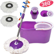 360° Microfiber Magic Mop W/Bucket 2 Heads Rotating Easy Floor Mop New