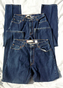 LOT OF TWO LEVIS 505 REGULAR FIT FADED BLUE DENIM 35 X 31 RED TAB WORK JEANS