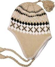 Light Weight Khaki Criss Cross Earflap Winter Hat with Fleece Lining