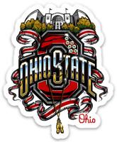 "O.S.U., Ohio State University ""Festive Scarlet Ribbon On Campus"" Buckeyes Magnet"