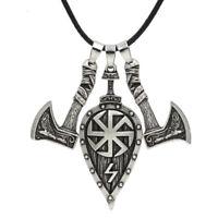 Men's Vintage Silver Norse Viking Odin Celtic  Wolf&Crow Axe Pendant Necklace