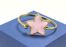 LALIQUE PINK FROSTED CRYSTAL STARFISH BRACELET FLEX GOLD PLATED BAND