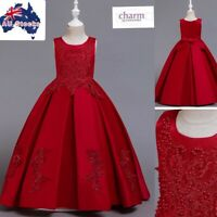 Flower Girl Prom Princess Pageant Christmas Party Wedding Formal red lace dress