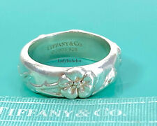 Tiffany & Co. Sterling Silver Nature Rose Flower Band Sz 4.5 Ring w Pouch 20527F